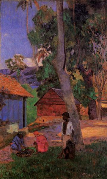 Around the huts, 1887 - Paul Gauguin
