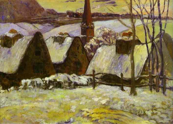 Breton village under snow, 1894 - Paul Gauguin