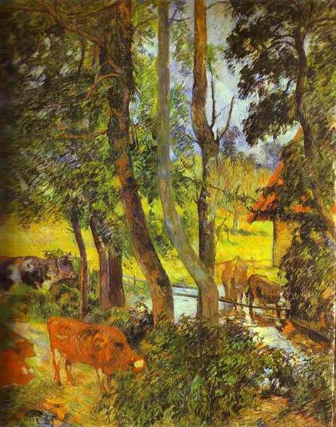 Cattle drinking, 1885 - Paul Gauguin