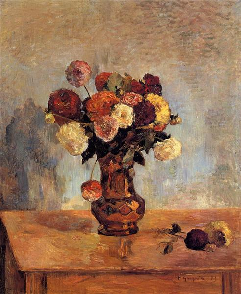 Dahlias in a copper vase, 1885 - Paul Gauguin