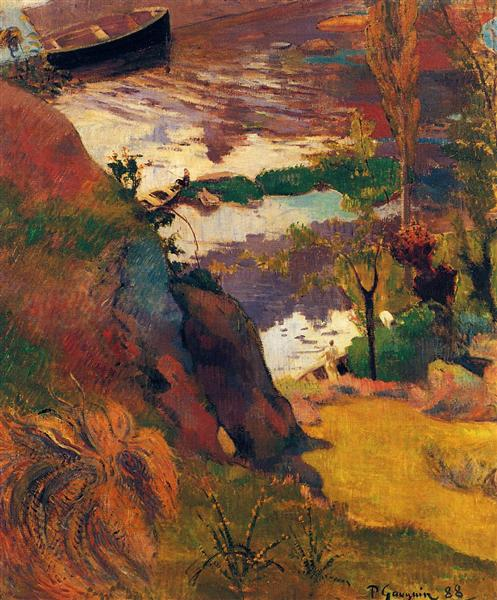 Fisherman and bathers on the Aven, 1888 - Paul Gauguin