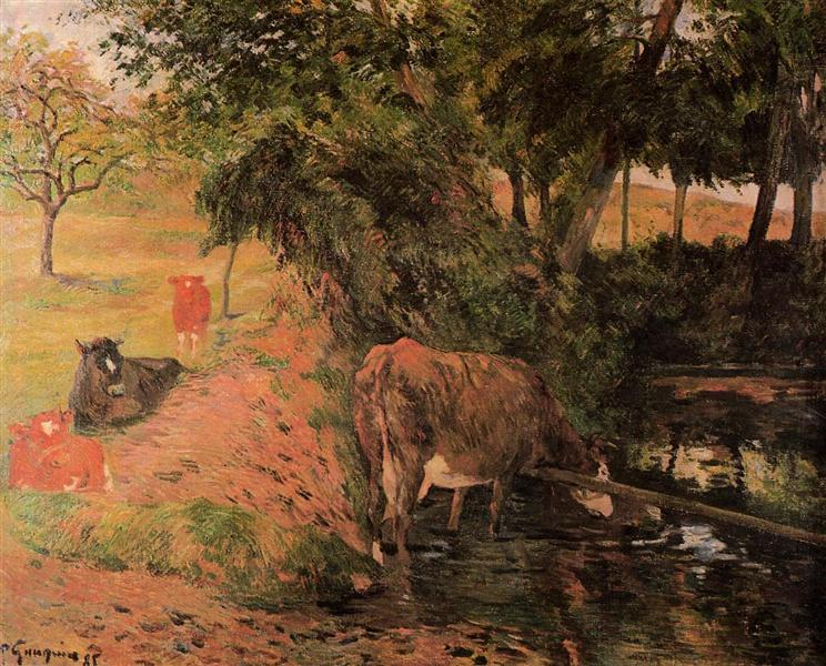 Landscape with cows in an Orchard, 1885 - Paul Gauguin