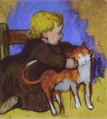 Mimi and her Cat, 1890 - Paul Gauguin