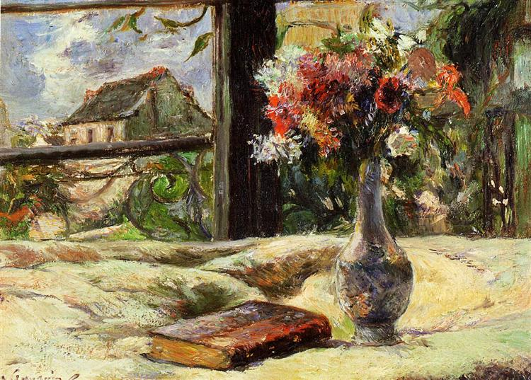 Still life. Vase with flowers on the window, 1881 - Paul Gauguin