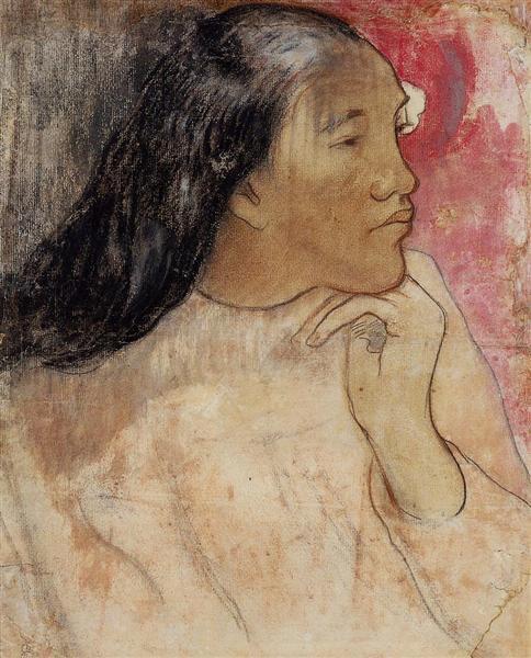 Tahitian woman with flower in her hair, c.1891 - Paul Gauguin