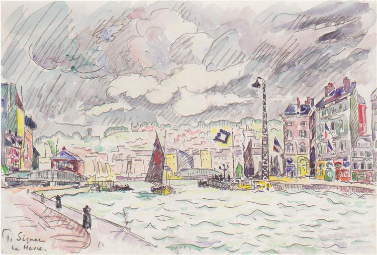 Le Havre with rain clouds, 1922 - Paul Signac