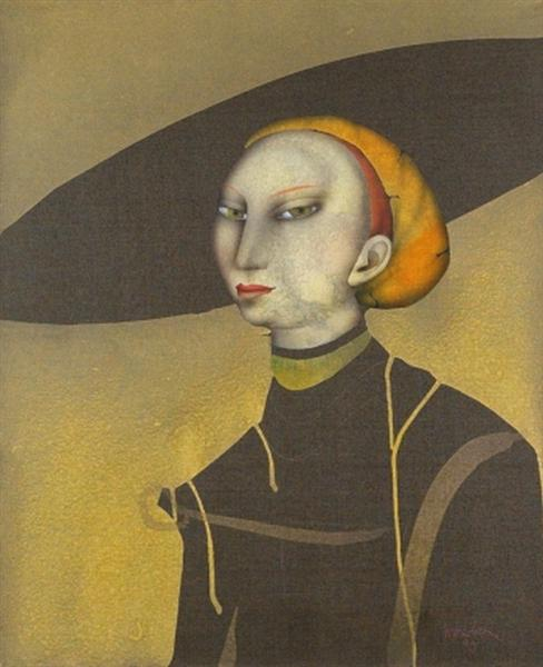Young lady with hat (after Lucas Cranach), 1990 - Paul Wunderlich