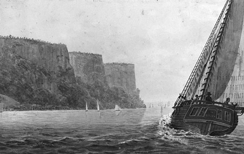 Steamboat Travel on the Hudson River, c.1812 - Pavel Svinyin