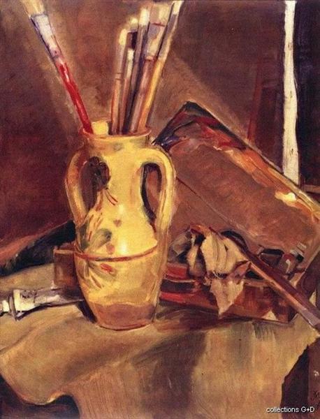 Still life with brushes -  Periklis Vyzantios