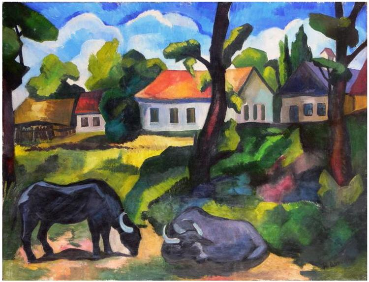 Landscape from Baia Mare (With Buffalos) - Petre Abrudan