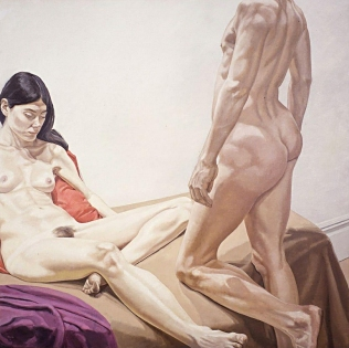Male and Female Nudes with Red and Purple Drape, 1968 - Philip Pearlstein