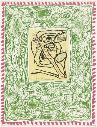 Plate II from the portfolio Papiers Traités - Pierre Alechinsky