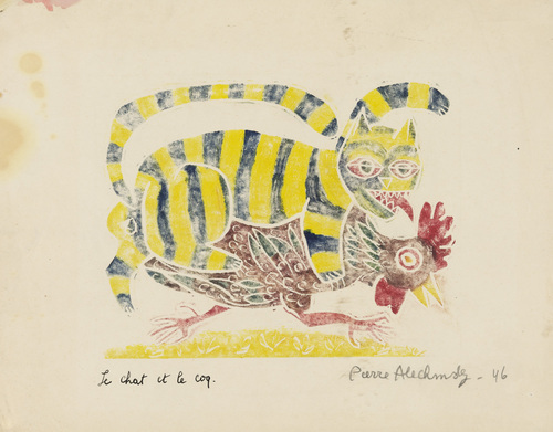 The Cat and the Rooster (Le chat et le coq) from Aesop's Fable (Fables d'Ésope), 1946 - Pierre Alechinsky