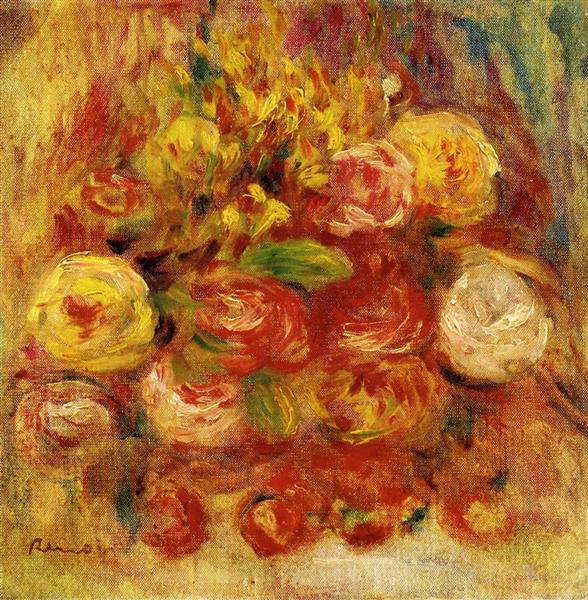 Flowers in a Vase with Blue Decoration - Pierre-Auguste Renoir