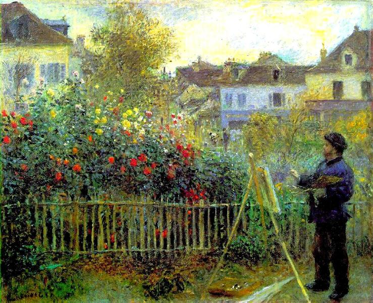 Monet painting in his garden at Argenteuil, 1873 - Pierre-Auguste Renoir