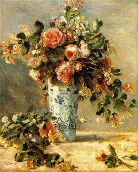 Roses and Jasmine in a Delft Vase, 1880 - 1881 - Пьер Огюст Ренуар