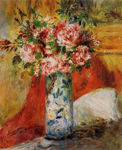 Roses in a Vase, 1876 - Pierre-Auguste Renoir