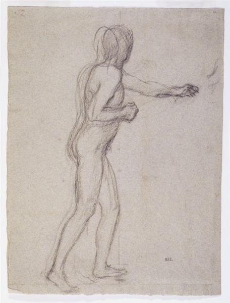 Study of a Standing Male Nude, 1878 - 1882 - Pierre Puvis de Chavannes
