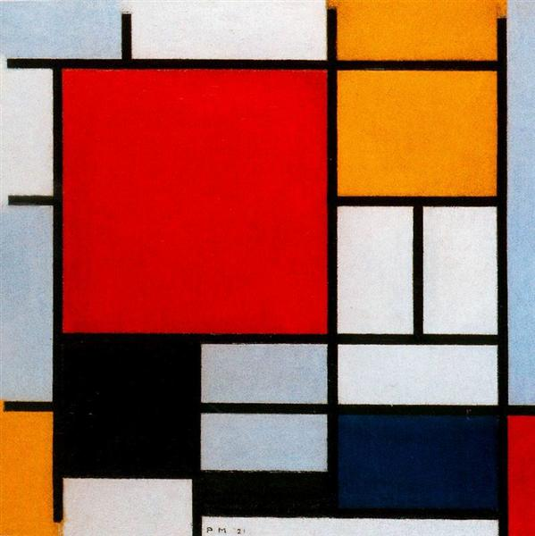 Composition with Large Red Plane, Yellow, Black, Gray and Blue, 1921 - Piet Mondrian