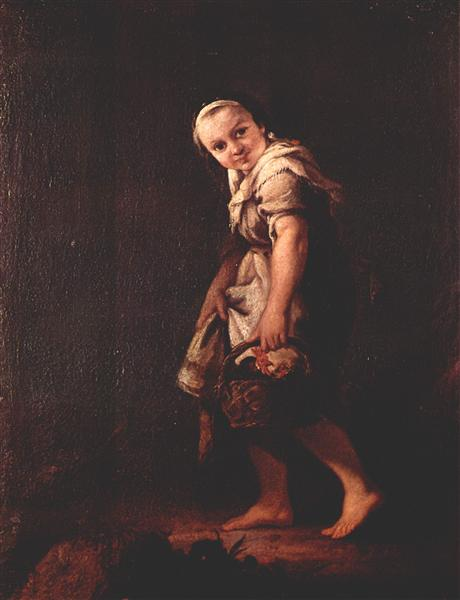 A Shepherd girl with a basket - Pietro Longhi