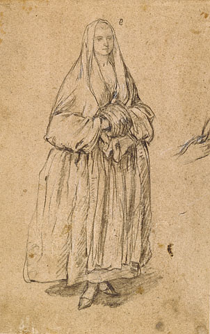 Standing Woman Holding a Muff Facing Right - Pietro Longhi