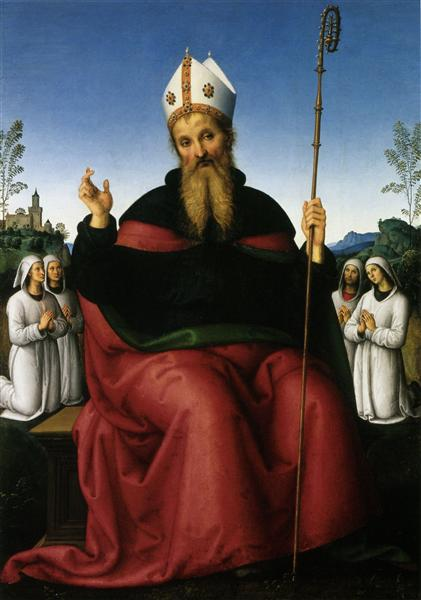 St. Augustine and four States of a fraternity - Pietro Perugino