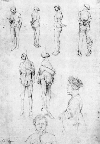 Hanged Men and Two Portraits, 1430 - Пизанелло