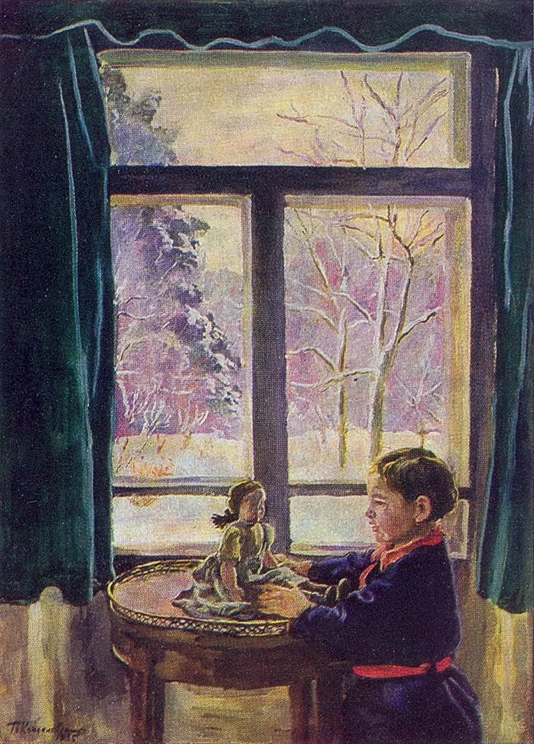 Katya by the window, 1935