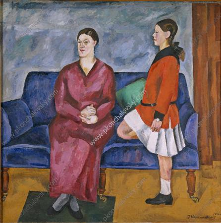 Portrait of S. P. Konchalovsky with her daughter, 1916 - Pyotr Konchalovsky