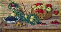 Still Life. Apples in a sieve. - Pjotr Petrowitsch Kontschalowski