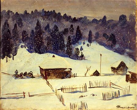 Village Karzamanovo. The snow has gone., 1934