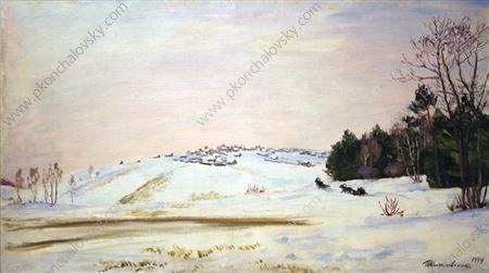 Village Potryasovo in winter, 1934