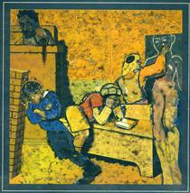 The Jewish School (Drawing a Golem) - R. B. Kitaj