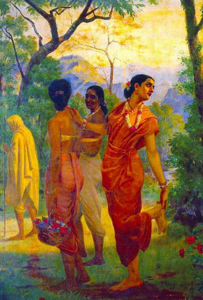 Shakuntala looking back to glimpse Dushyanta - Raja Ravi Varma
