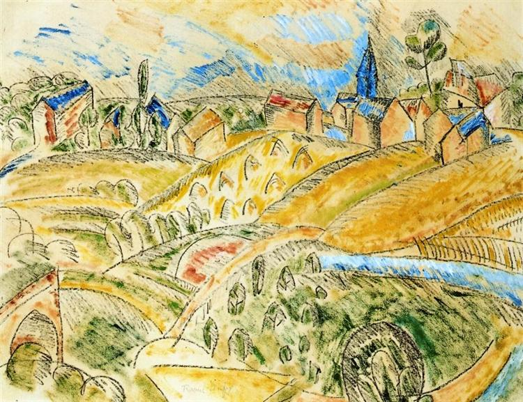 Cubist Landscape with Haystacks, c.1913 - Raoul Dufy - WikiArt.org