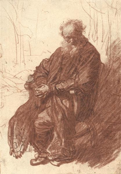 Old Man Seated in an Armchair, Full length, c.1630 - c.1631 - Rembrandt
