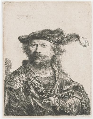 Self-portrait in velvet cap and plume - Rembrandt