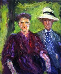 Double Portrait (green background) - Richard Gerstl