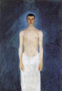 Self-portrait in front of blue background - Richard Gerstl