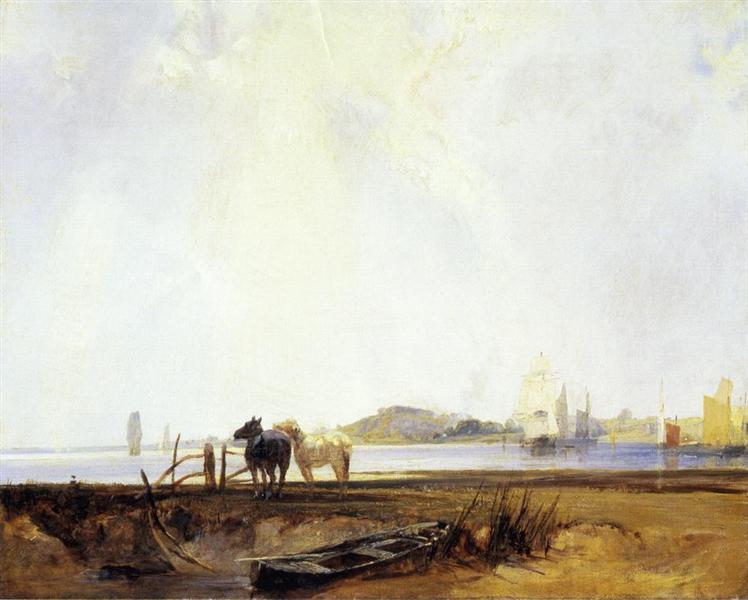 Landscape near Quilleboeuf, c.1825 - Richard Parkes Bonington
