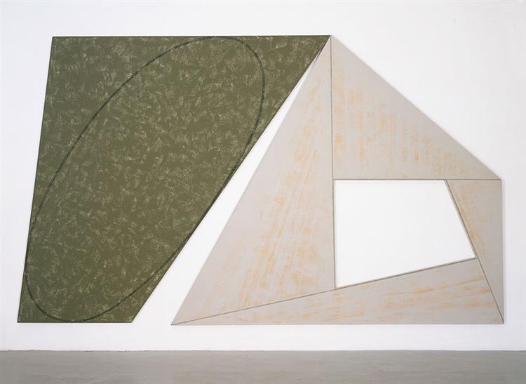 Green Tilted Ellipse - Gray Frame, 1989 - Robert Mangold