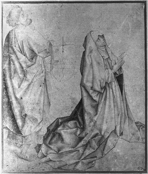 The Virgin kneeling and praying behind St. Peter - Rogier van der Weyden