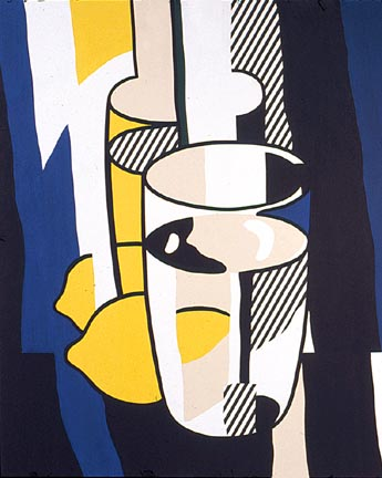 Glass and Lemon in a Mirror. Oil and magna on canvas, 1974 by Roy Lichtenstein