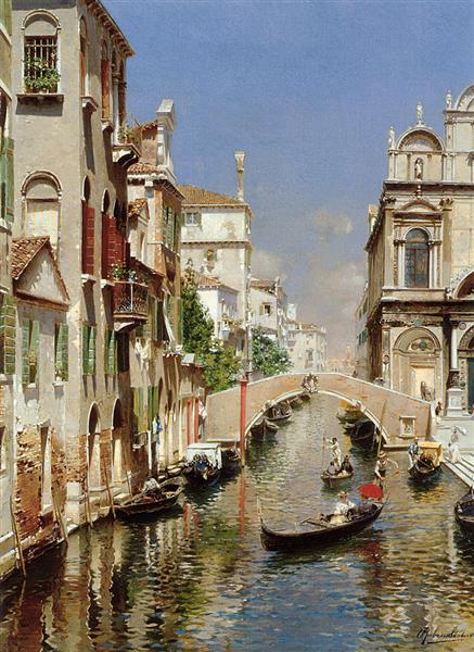 A Venetian Canal with the Scuola Grande di San Marco and Campo San Giovanni e Paolo, Venice - Rubens Santoro