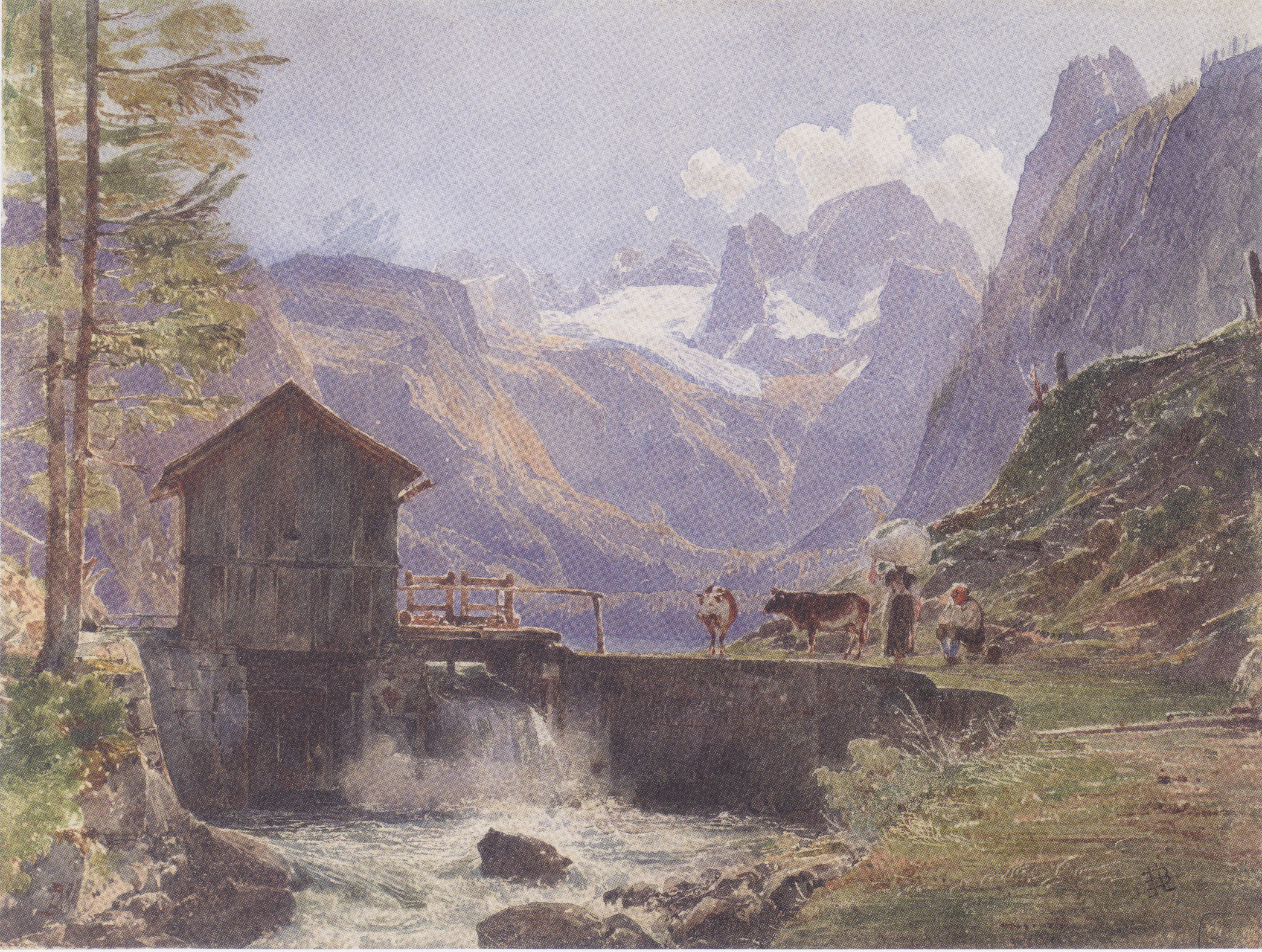 Hoher Dachstein from Lower Gosau, 1838