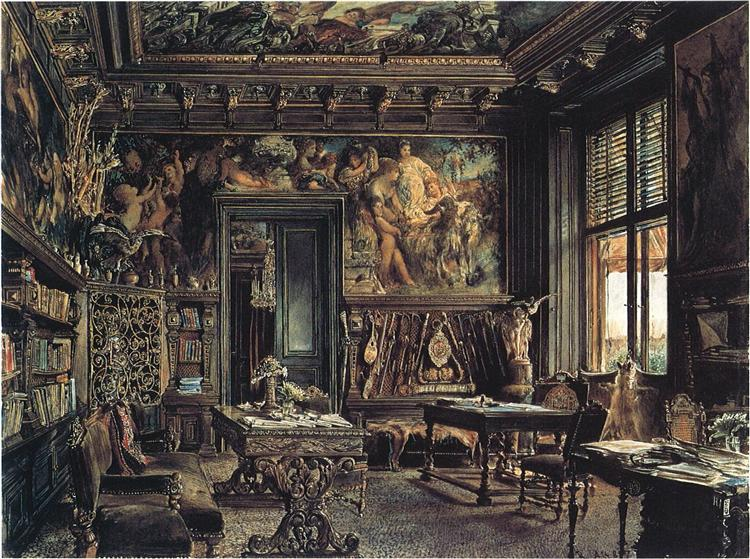 the library in the palais dumba 1877 rudolf von alt. Black Bedroom Furniture Sets. Home Design Ideas