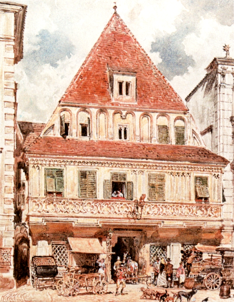 Watercolour of Steyr Bummerlhaus, 1871