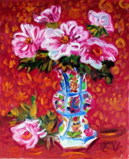 Peonies in a Chinese vase - Umehara Ryuzaburo