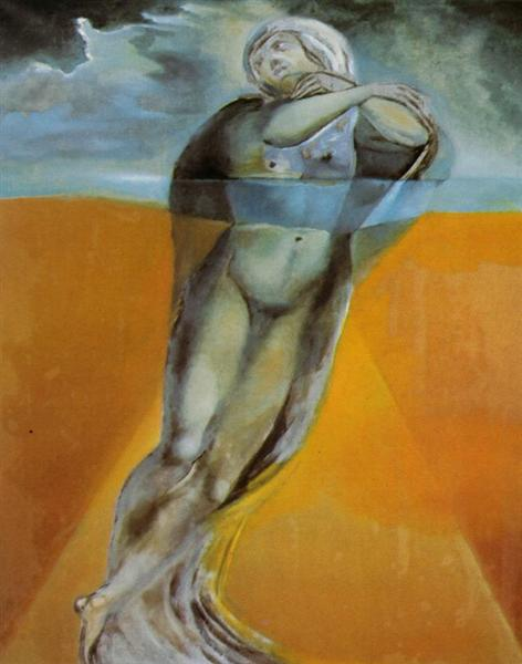 Figure in the Water - After a Drawing by Michelangelo for the 'Resurrection of Christ', 1982 - Salvador Dali