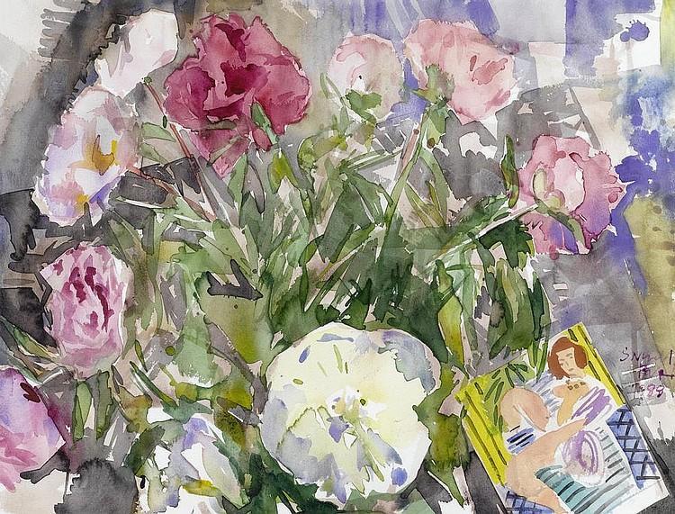 Bright bouquet of flowers, 1988 - Самуэль Бури